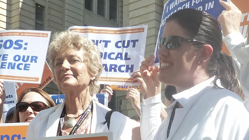 Protesters including Fiona Stanley at a rally