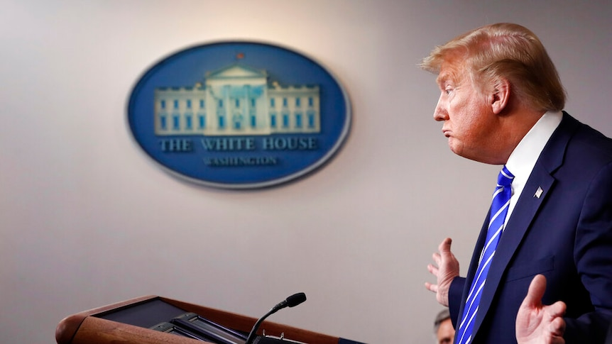 President Donald Trump speaks about the coronavirus in the James Brady Press Briefing Room of the White House.