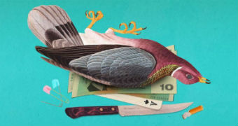 Digital artwork showing a dead bird, cash, a playing card, a knife, a cigarette butt and two safety pins.