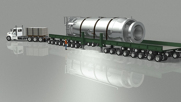 An illustration of a small nuclear reactor on a truck