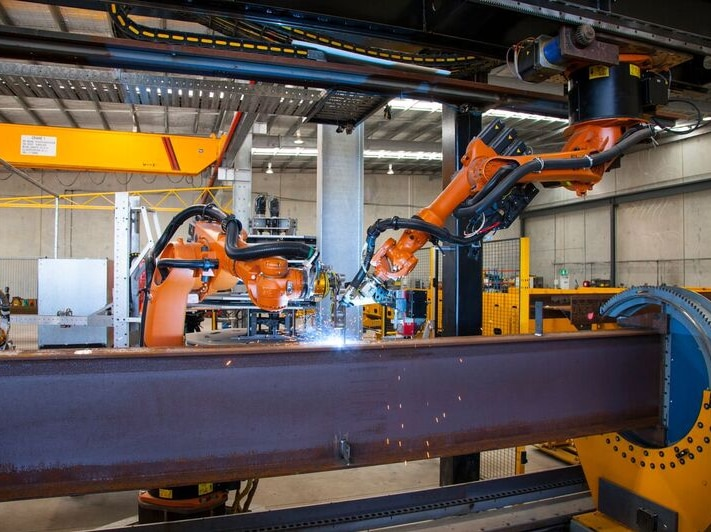 Robotic welding operation at Smart Steel Systems in Brisbane