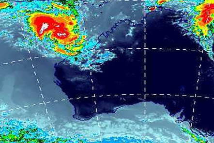 Bureau of Meteorology map showing two cyclones off QLD and WA coasts
