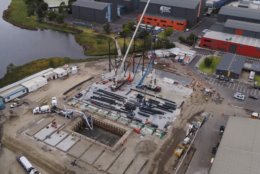 An aerial photo of a film production facility being constructed at Docklands.