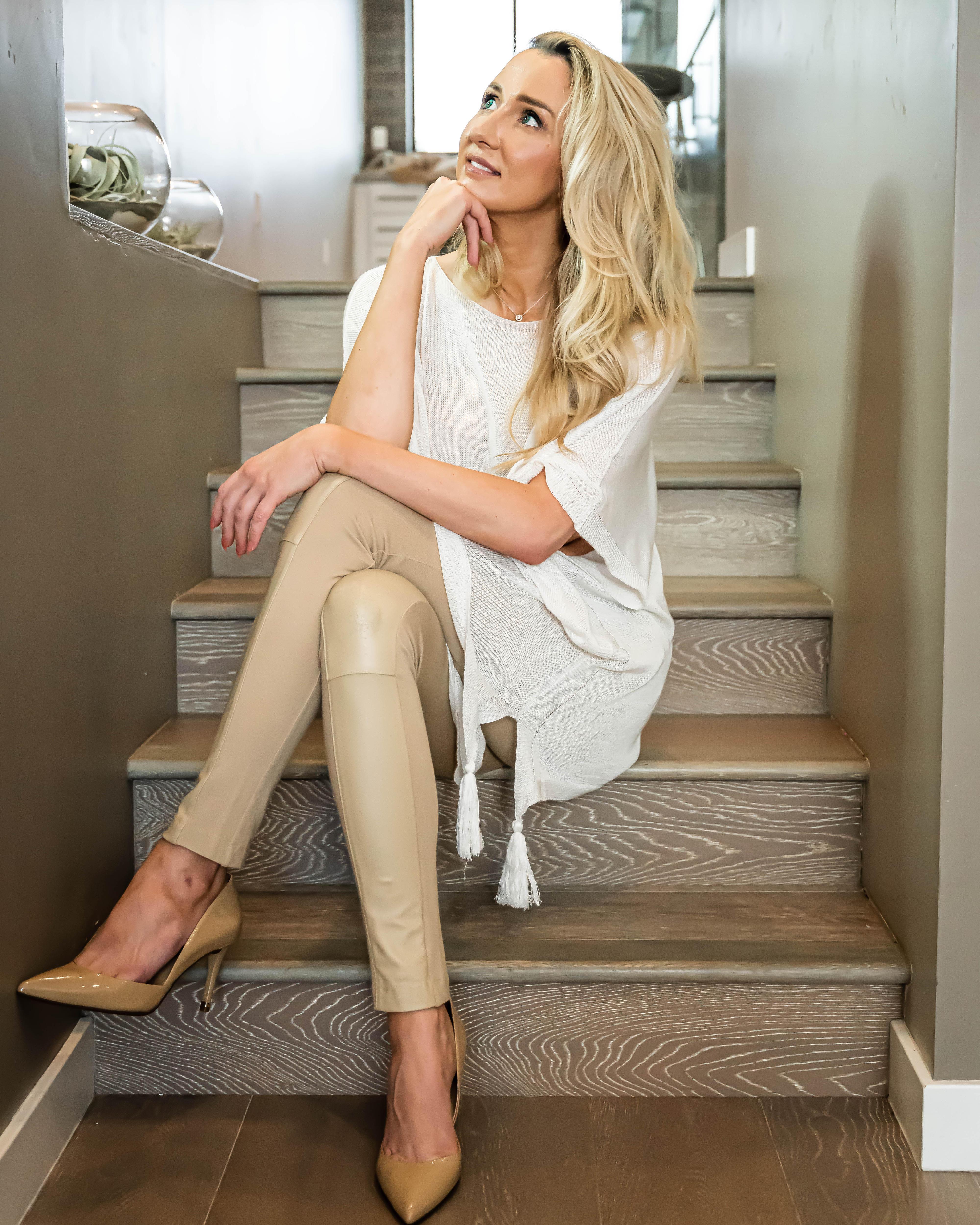 Julia sitting on stairs