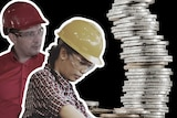 Male and female constriction workers beside tower of coins.