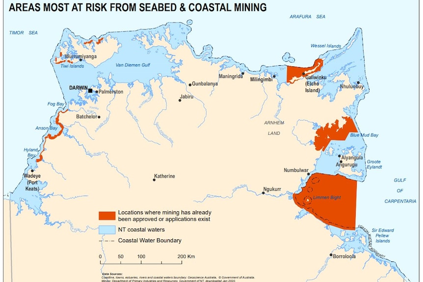 A map of potential areas of seabed mining in the NT.
