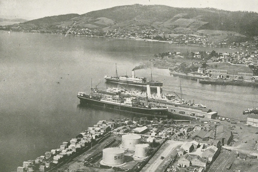 Shipping in the River Derwent, pictured in 1933.