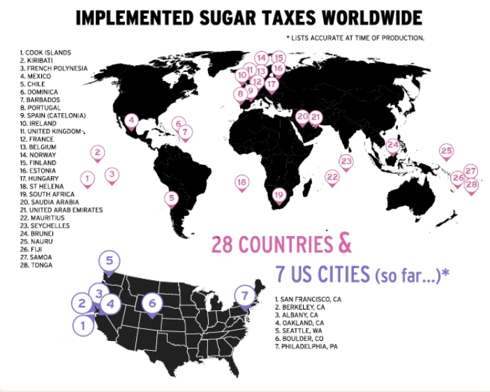 A world map that marks 28 countries around the world that have implemented a sugar tax.