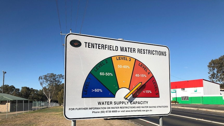 A colourful sign with 'Tenterfield water restrictions' and an arrow pointing to the orange Level 4