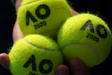Close-up of a hand holding three Australian Open-branded tennis balls