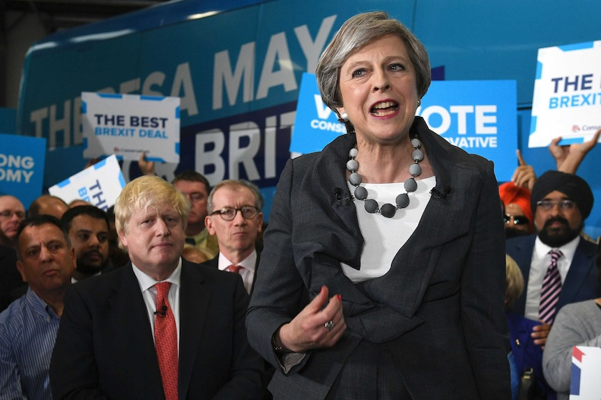 UK Prime Minister Theresa May and Boris Johnson on the campaign trail
