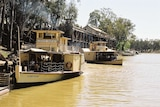 Two large yellow paddlesteamers are sitting on the Murray River.