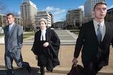 Former ADFA cadets Daniel McDonald (left) and Dylan Deblaquiere arrive at court