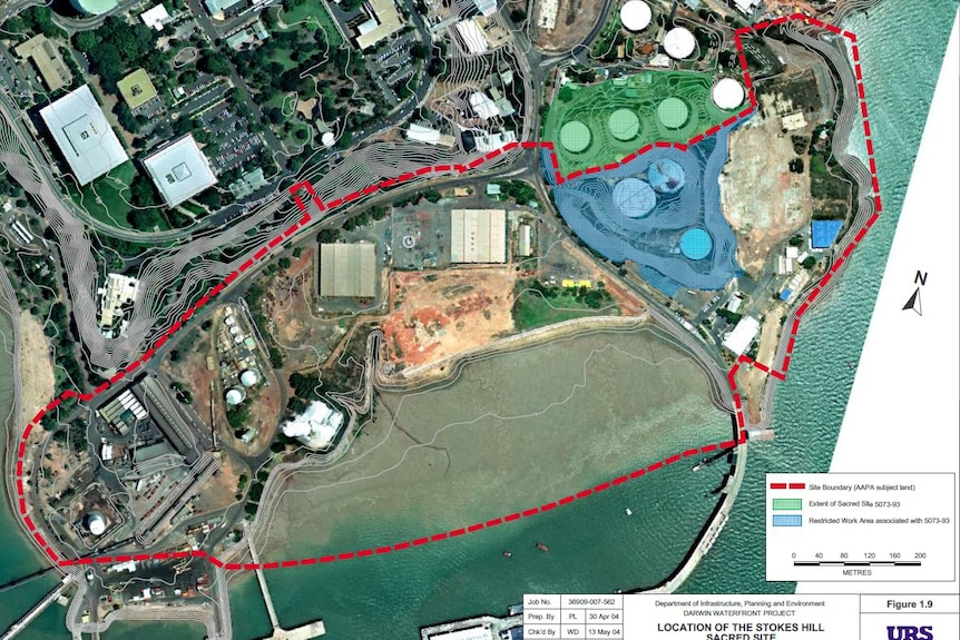 An aerial photograph of the Darwin waterfront precinct with an area marked in green.