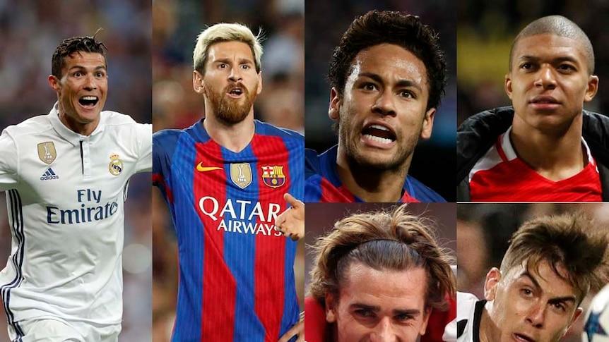Composite of Cristiano Ronaldo, Lionel Messi, Neymar, Kylian Mbappe, Antoine Griezmann and Paulo Dybala