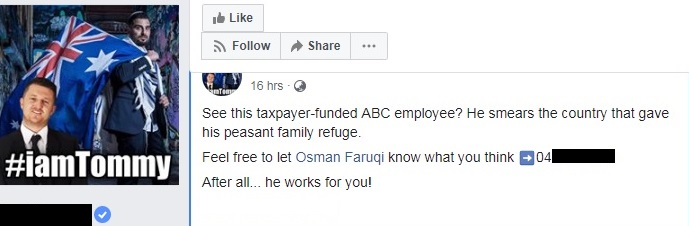 """Facebook post: """"He smears the country that gave his peasant family refuge… let Osman Faruqi know what you think"""""""