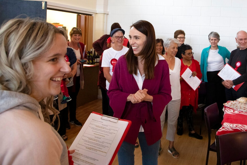 New Zealand Prime Minister Jacinda Ardern gestures as she thanks her electorate workers at an event in Auckland.