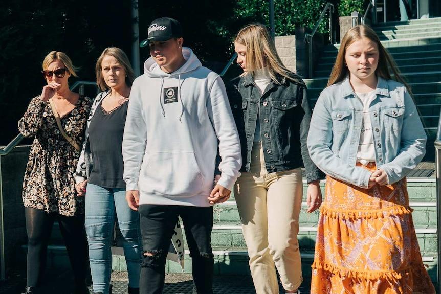 Five of Adam Beattie's family leave Gosford Court.