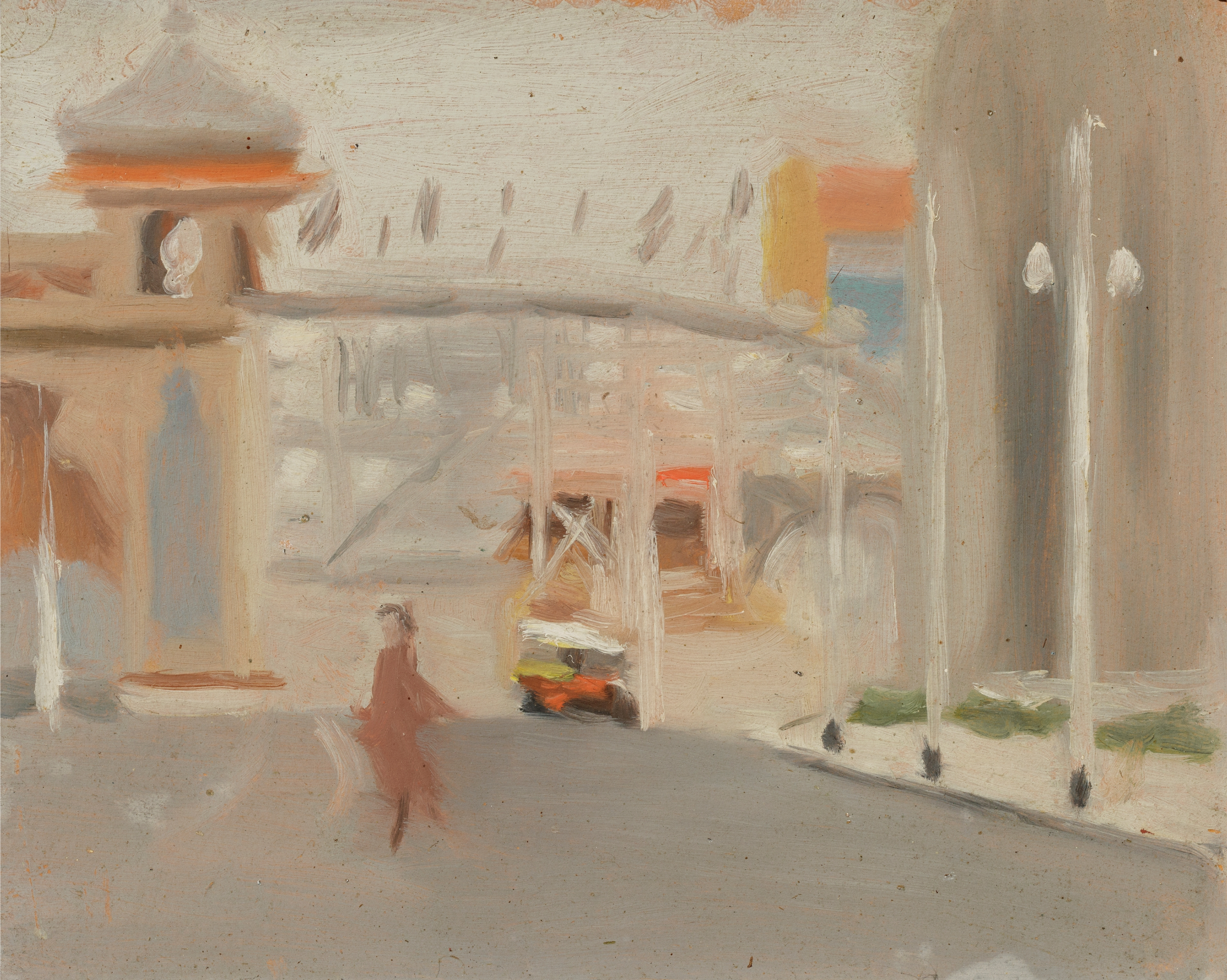 A painting by Clarice Beckett, blurry realism, of the outside of Melbourne's Luna Park in 1919