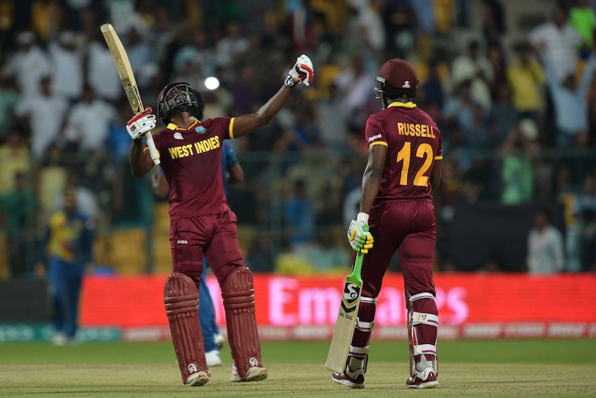 Andre Fletcher celebrates a Windies victory over Sri Lanka at the World Twenty20
