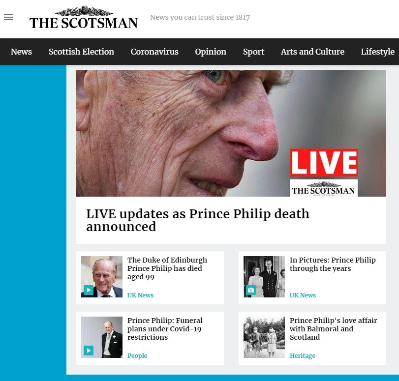 The Scotsman website after the death of Prince Philip.