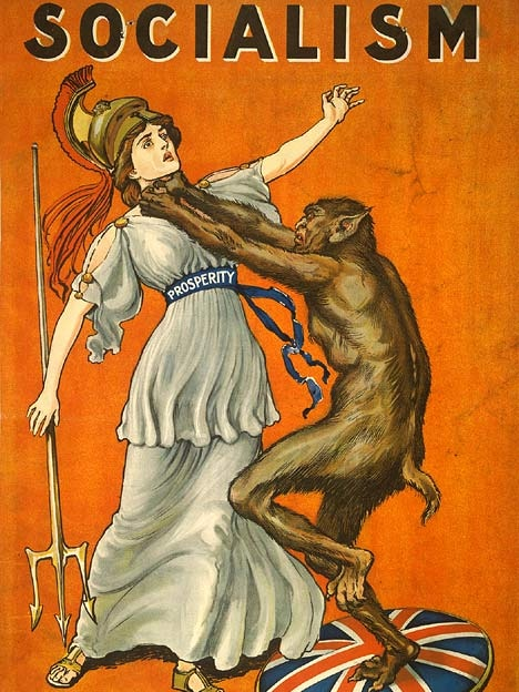 """A beast chokes the personification of """"Prosperity"""" in a propaganda poster"""