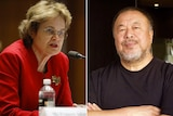 A composite photo of Frances Adamson at a microphone and Ai Weiwei