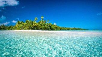 A pristine tropical beach in the Pacific.