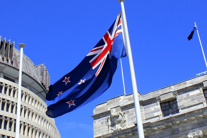 New Zealand flag in front of civic buildings
