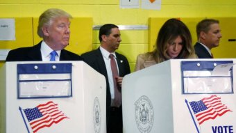 Donald Trump casts his vote during the 2016 US presidential election