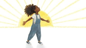 An illustration of a girl with dark skin standing in front of a sun.