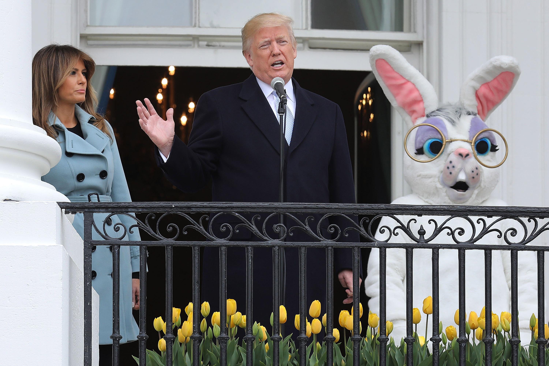 Donald Trump giving an Easter speech.