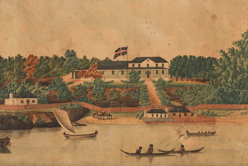 A painting depicts Aboriginal people in canoes in the harbour in front of a stately looking building flying the Union Jack.