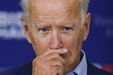 Democratic U.S. presidential nominee and former Vice President Joe Biden pauses as he speaks