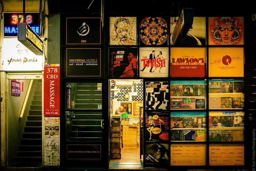A shot of Lawson's Records at night.