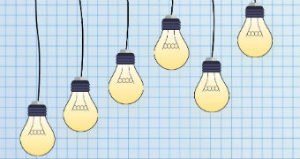 An illustration of light bulbs hanging from wires.