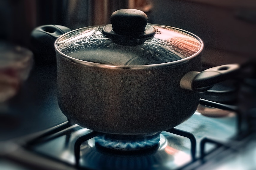 A glass-lid saucepan sits on a gas cooktop