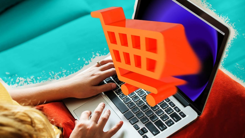 Woman with her laptop and illustration of shopping cart coming out of screen to depict avoiding online impulse shopping.