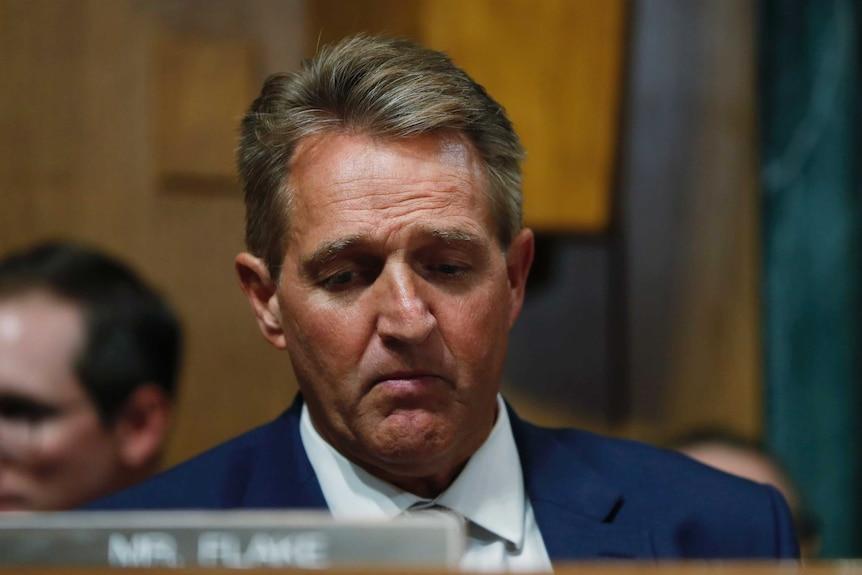 Senator Jeff Flake listens during a meeting of the Senate Judiciary Committee