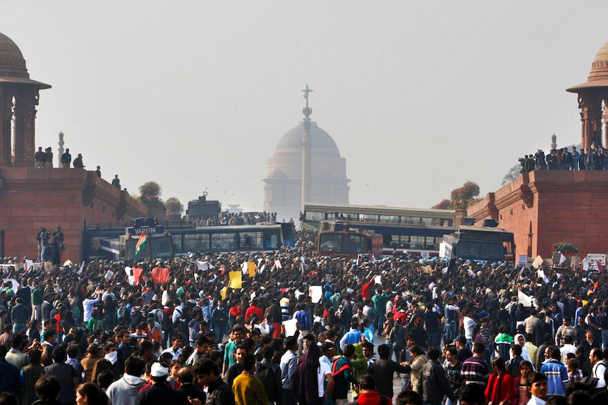Thousands of protesters are seen outside the Indian Presidential Palace in the middle of the ay after the four were hung.