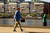 A man walks near the water on a sunny day in Docklands.