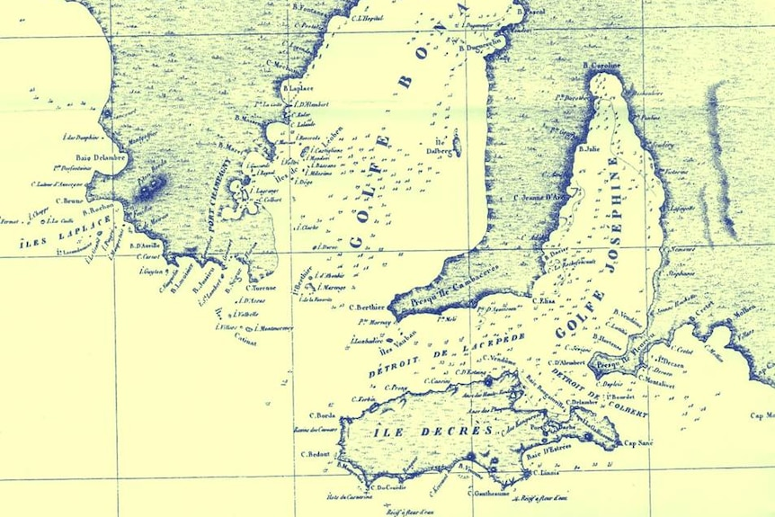 A map of SA that shows the familiar areas listed with French names.