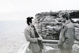Gordon Wood (right) with friend Peter Cameron at The Gap, after Caroline Byrne's body was found.