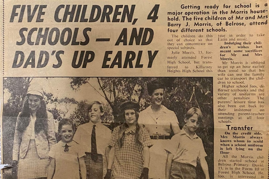 Newspaper clipping with headline 'Five children, 4 schools - and dad's up early.'