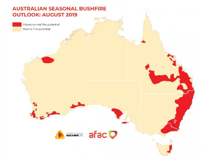Map of Australia showing areas above normal fire potential