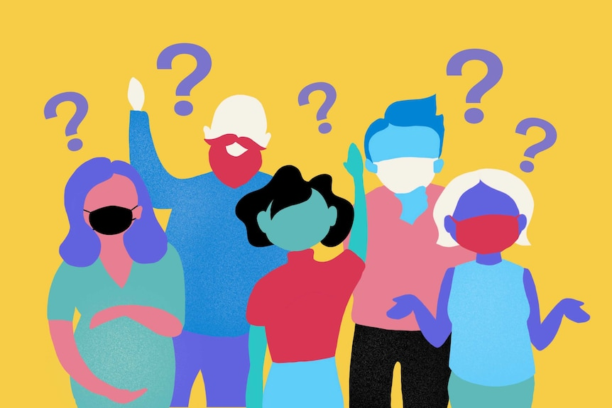 An illustration  depicting five people standing together with questions.