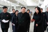 North Korean leader Kim Jong-un walking.