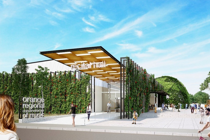 Conceptual drawing of the proposed new building for Orange Regional Conservatorium.