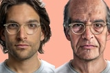 Composite of a present-day man wearing glassing and a computer-generated older man for a story about ageing well.