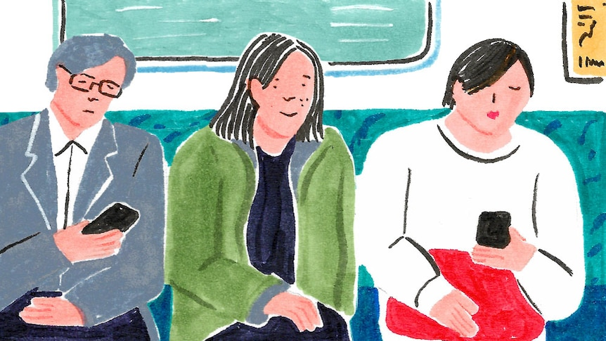 An illustration of Grace Lee sitting between two commuters on a Tokyo train, she's smiling happy with her life in Japan.